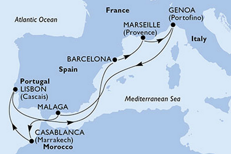 MSC Preziosa : Italie, Espagne, Maroc, Portugal