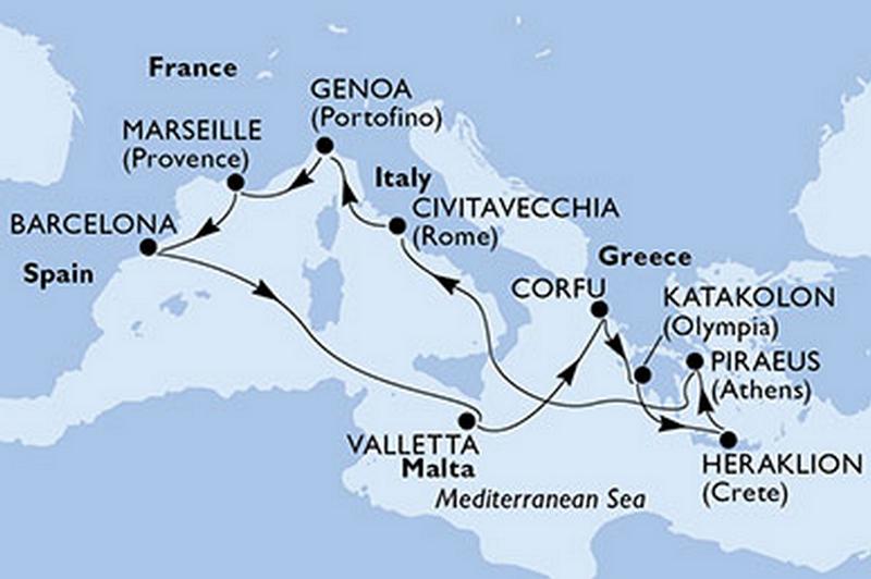MSC Poesia : Espagne, Malte, Grèce, Italie