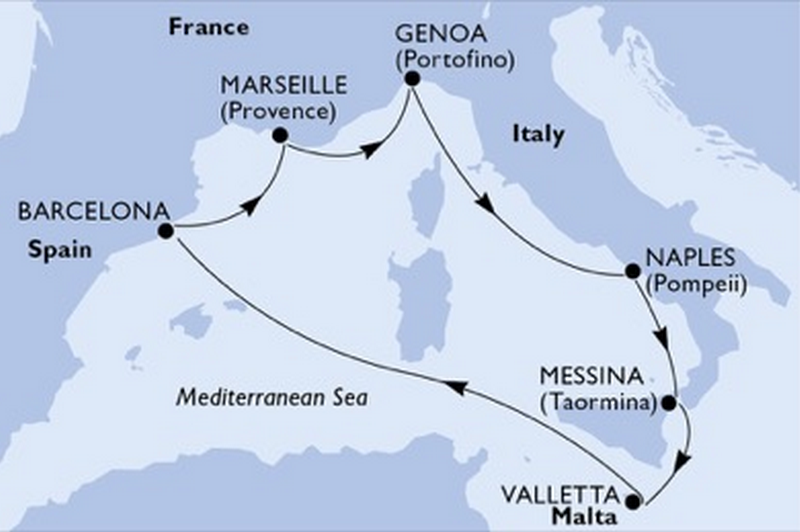 MSC Bellissima : Italie, Sicile, Malte, Espagne