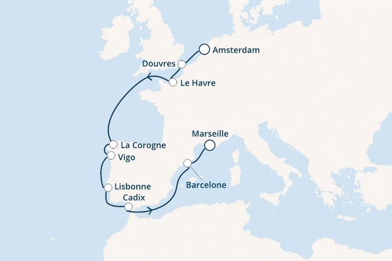 Costa Mediterranea - vol aller inclus : Pays-Bas, Angleterre, Espagne, Portugal
