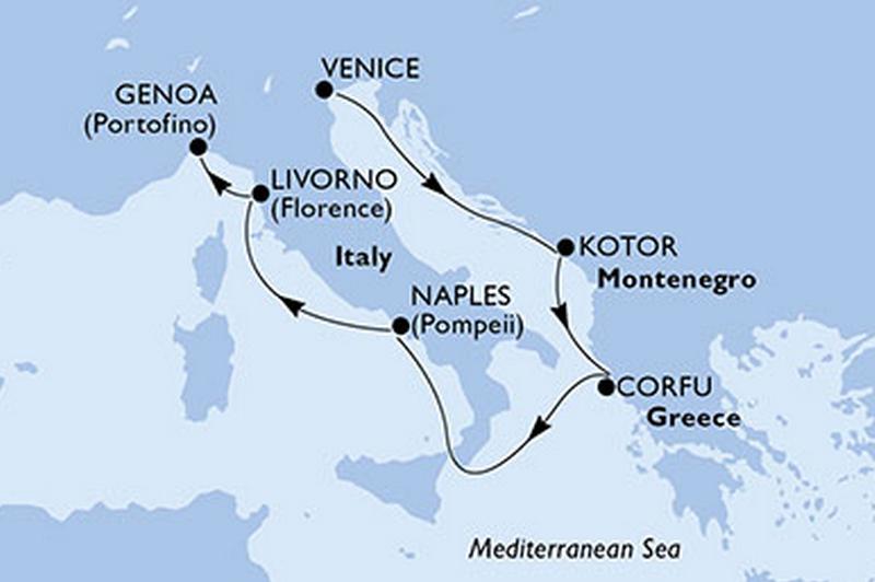MSC Musica - combiné : Italie, Monténégro, Grèce + visite de Parme et Venise
