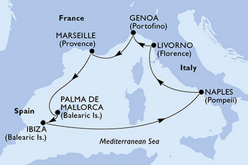 MSC Fantasia : France, Espagne, Italie + forfait bien-être