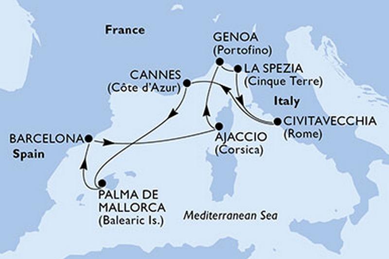 MSC Seaview - tout compris : Espagne, Corse, Italie