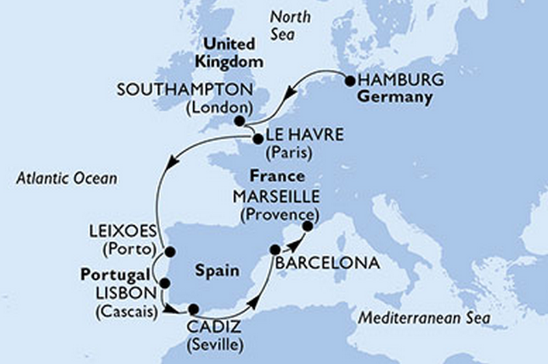 MSC Orchestra - vol aller inclus : Allemagne, Royaume-Uni, Portugal, Espagne