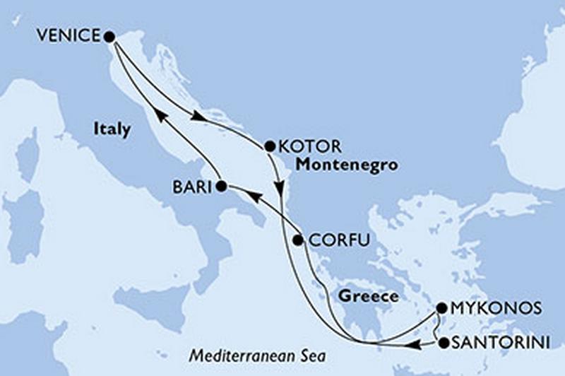 MSC Opera - combiné : Italie, Grèce + Portofino, Cinque Terre, Pise, Venise