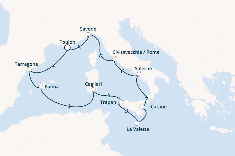 Costa neoRiviera - embarquement Toulon : Espagne, Baléares, Italie, Malte